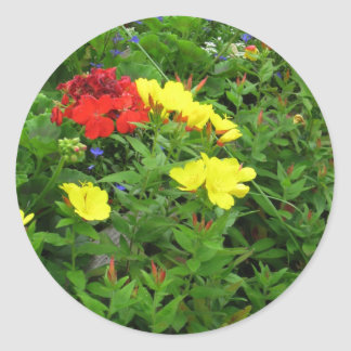 Mixed Blooms Olympia Farmer' s Market Garden Classic Round Sticker