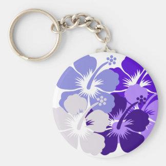 mixed blue hibiscus design keychain