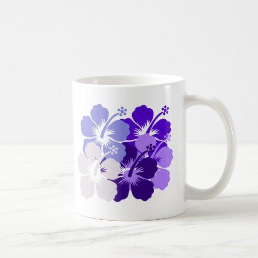 mixed blue hibiscus design coffee mugs