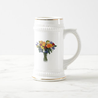 Mixed Bouquet of Tropical Colored Flowers Beer Stein