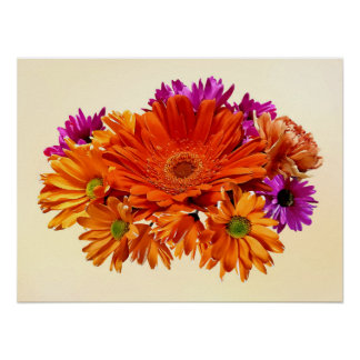 Mixed Bouquet With Gerbera Daisy and Mums Poster