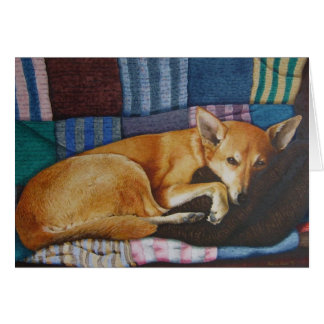 mixed breed brown dog art thinking of you card