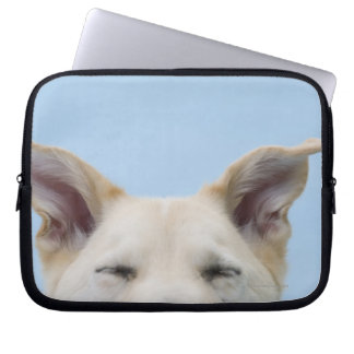 Mixed-breed dog, close-up on head and ears computer sleeve