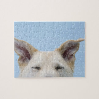 Mixed-breed dog, close-up on head and ears jigsaw puzzle