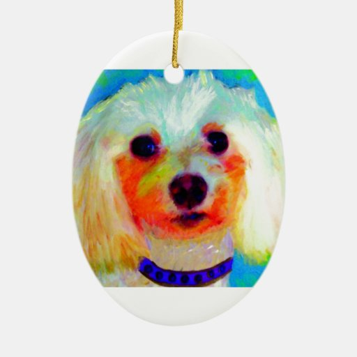 Mixed Breed Dog Double-Sided Oval Ceramic Christmas Ornament