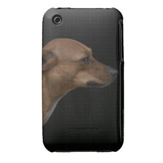 Mixed breed dog profile on black background iPhone 3 Case-Mate case