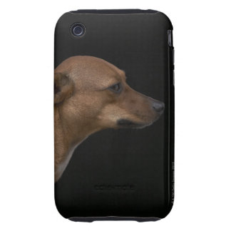 Mixed breed dog profile on black background tough iPhone 3 covers