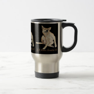 mixed breed GSD dog scratching with funny slogan Travel Mug