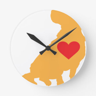 Mixed Breed Silhouette Round Clock