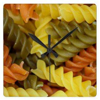 Mixed bright Raw Pasta closeup Square Wall Clock