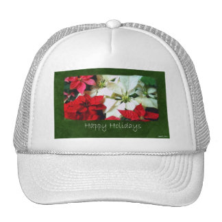Mixed Color Poinsettias 1 - Happy Holidays Mesh Hat