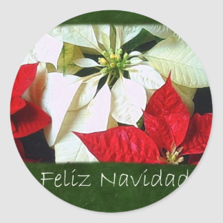 Mixed Color Poinsettias 2 - Feliz Navidad Classic Round Sticker