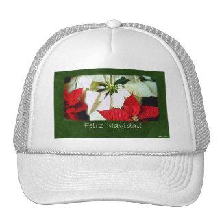 Mixed Color Poinsettias 2 - Feliz Navidad Mesh Hats