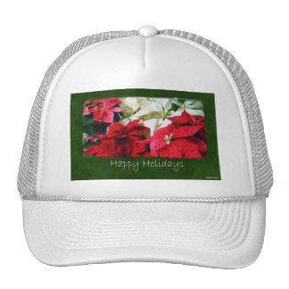 Mixed Color Poinsettias 3 - Happy Holidays Trucker Hat