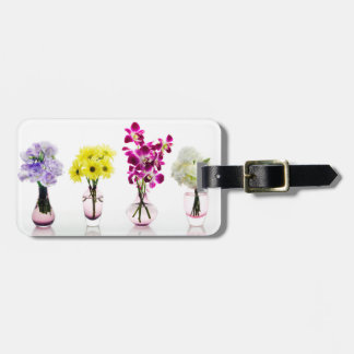 Mixed Colorful Flowers Orchids Daisies Luggage Tag