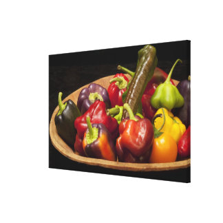 Mixed colors and types of peppers gallery wrapped canvas