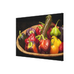 Mixed colors and types of peppers canvas print