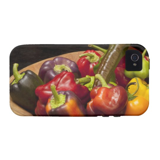 Mixed colors and types of peppers iPhone 4 case