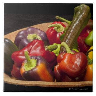 Mixed colors and types of peppers large square tile