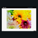 """Mixed Daisies Bouquet-14 in Vinyl Laptop Skin<br><div class=""""desc"""">Mixed Daisies Bouquet-Flower photography of a beautiful mixed daisy bouquet. Bright yellow, pinkish-purple and white daisies mixed with green chrysanthemum flowers. You can bring the garden indoors in an instant by changing out the vinyl skin on your laptop. I&#39;ve placed two text areas for you to personalize with. Edit both...</div>"""