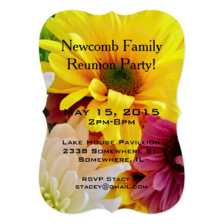 Mixed Daisies Bouquet-Party Invitation Template