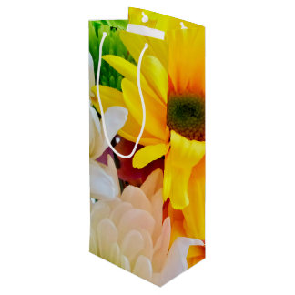 Mixed Daisies Bouquet-Wine Gift Bag