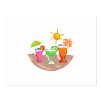 MIXED DRINKS ON THE BEACH POSTCARD