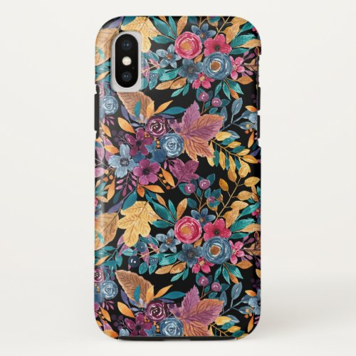 Mixed Fall Floral Leaves Berry Watercolor Pattern Phone Case
