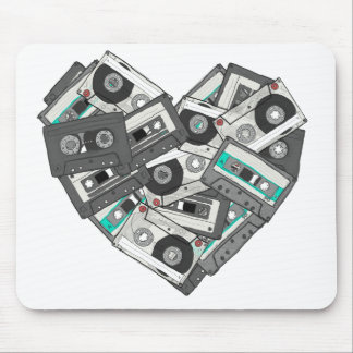 Mixed Feelings Cassette Tapes Heart T-Shirt Design Mouse Pad