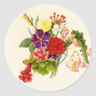 Mixed Flower Bouquet Classic Round Sticker