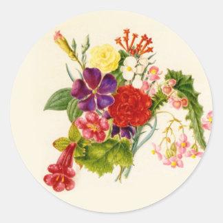 Mixed Flower Bouquet Round Sticker