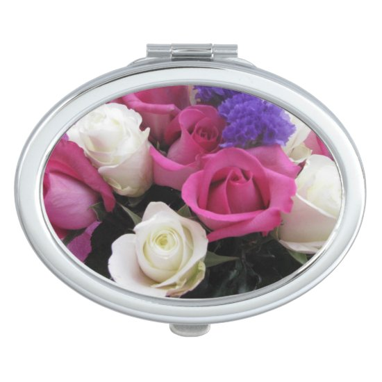 Mixed Flowers Compact Mirror For Makeup