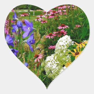 Mixed Flowers Heart Sticker