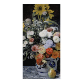 Mixed Flowers in an Earthenware Pot by Renoir Customized Photo Card