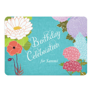 Mixed Flowers on Blue Linen Birthday Invite