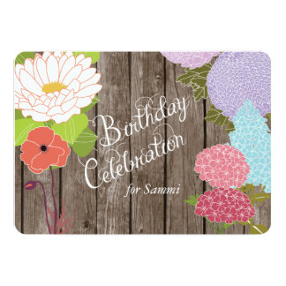 Mixed Flowers on Weathered Wood Birthday Invite