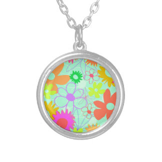Mixed Flowers Silver Plated Necklace
