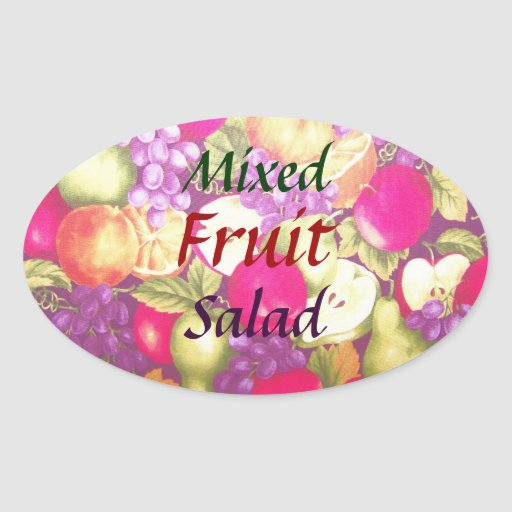Mixed Fruit Salad Label Pretty Vintage Oval Sticker
