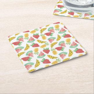 Mixed Fruits Square Paper Coaster