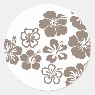 Mixed Gray Hibiscus Design Round Stickers