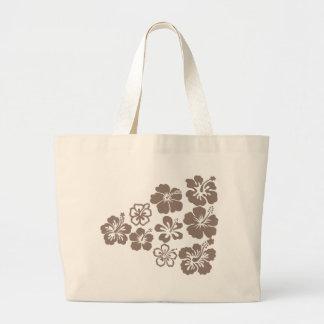 Mixed Gray Hibiscus Design Tote Bag
