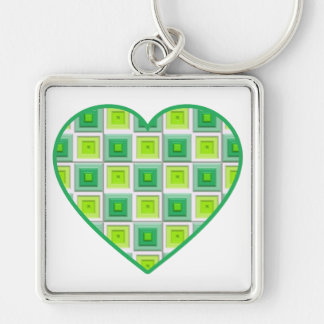 Mixed Greens Squares Heart Keychain