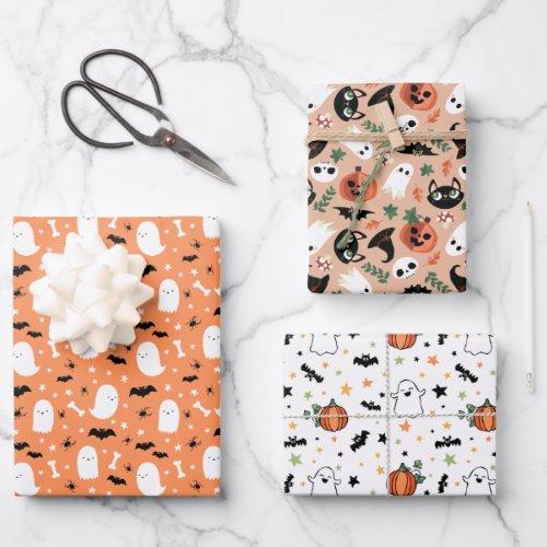 Mixed Halloween Patterns Ghost Pumpkins Bats Wrapping Paper Sheets