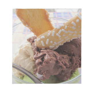 Mixed ice cream scoops with biscuits in bowl notepad
