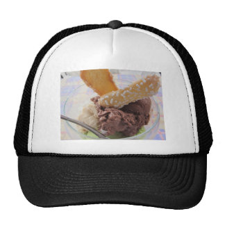 Mixed ice cream scoops with biscuits in bowl trucker hat