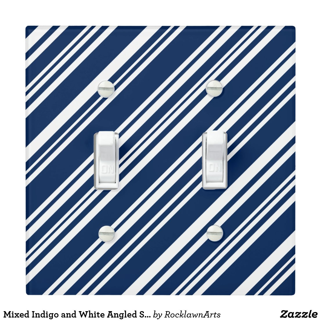 Mixed Indigo and White Angled Stripes Light Switch Cover