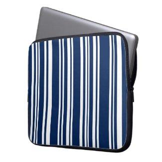 Mixed Indigo and White Stripes Laptop Sleeve