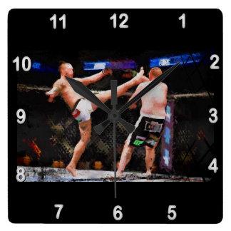 Mixed Martial Arts - A Kick To The Head Square Wall Clock