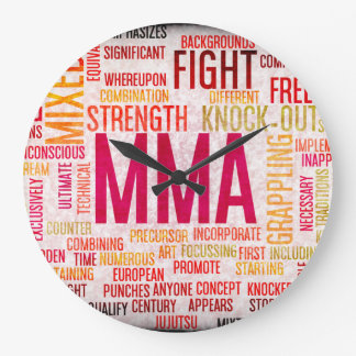 Mixed Martial Arts or MMA as a Grunge Concept Large Clock
