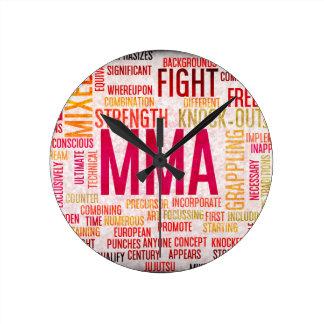 Mixed Martial Arts or MMA as a Grunge Concept Round Clock